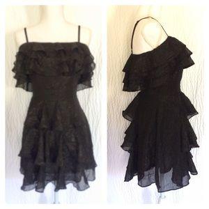 Black Tiered Ruffle Mini Cocktail Dress L